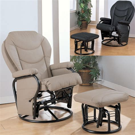rocker glider recliner with ottoman black bone leatherette cushion swivel reclining glider