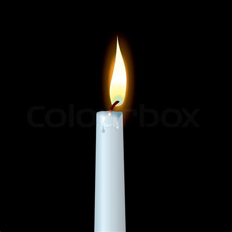 Simple Home Decoration For Birthday White Candle With Wax Dribble And Buring Flame Stock