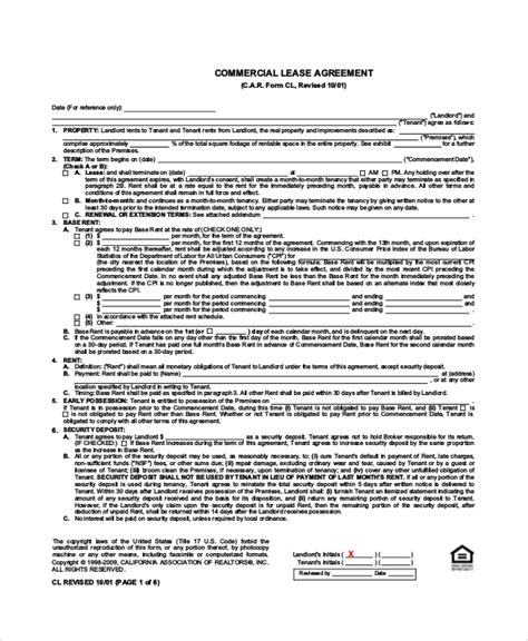 standard lease agreements standard lease agreement 12 free pdf word documents