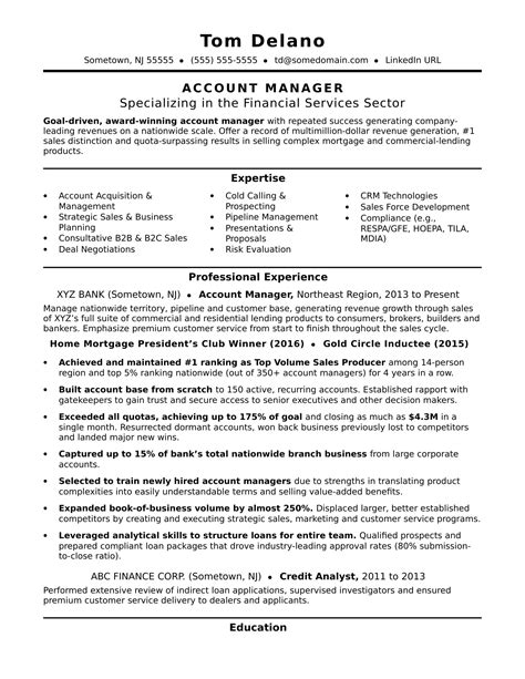 free resume sles account manager account manager resume sle