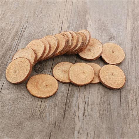 20pcs 5 6cm Wood Log Slices Discs Cutout Circle Round