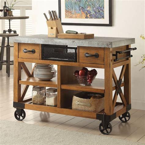 oak kitchen furniture acme furniture kailey kitchen cart in antique oak 98182