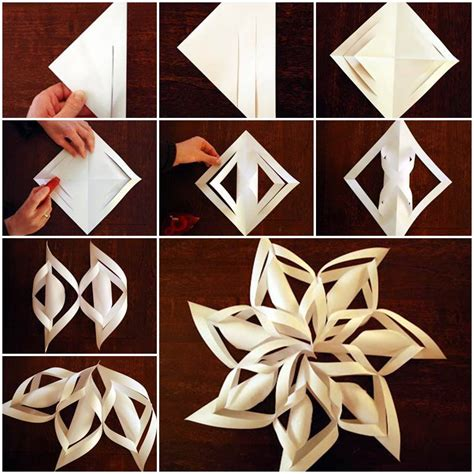 How To Make A Snowflake With Construction Paper - diy 3d paper snowflake ornaments beesdiy