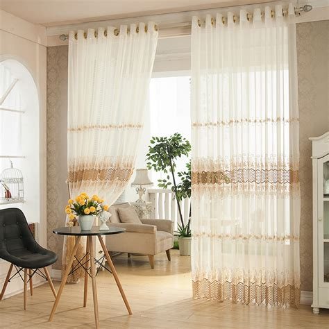 Sheer Valances For Living Room 2 Panel White Jacquard Printed Sheer Tulle Curtains