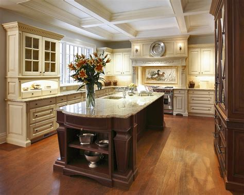 ornate deep brown kitchen island for victorian kitchen