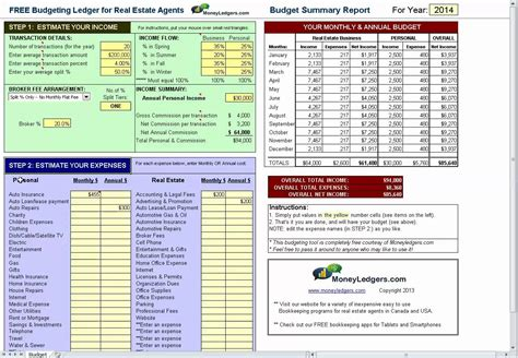 Real Estate Budget Template free simple budget software for real estate agents