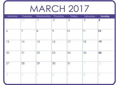 Calendar March March 2017 Printable Calendar Templates Free Printable