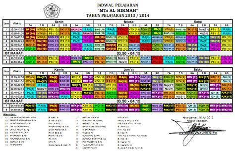 salah satu manfaat membuat jadwal kegiatan adalah jadwal pelajaran mts al hikmah 2013 2014 alhikmah