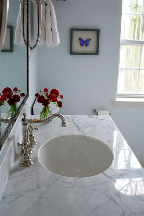white marble countertop transitional bathroom benjamin seafoam teresa