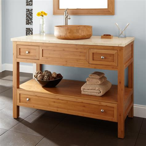 Bathroom Vanity Console 48 Quot Bamboo Vessel Sink Console Vanity Bathroom Vanities Bathroom