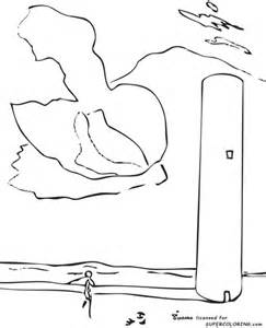 the tower by salvador dali coloring page supercoloring com