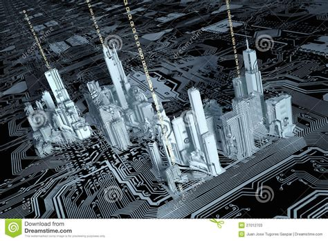 3d printing integrated circuits 3d city on a computer chip stock photos image 27012703