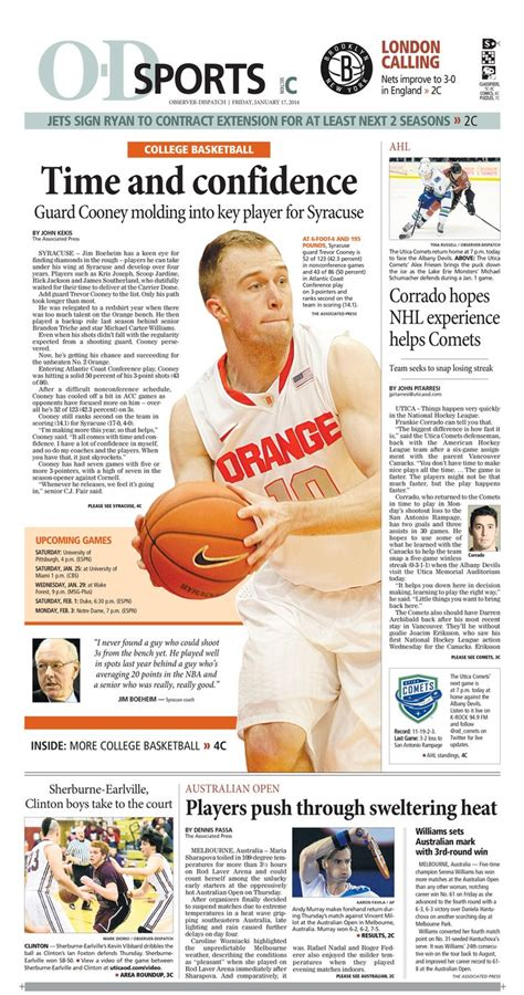 sports section front syracuse orange basketball feature newspaper designs syracuse