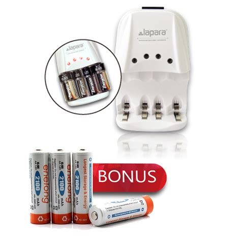 lapara ii alkaline battery charger bonus enelong rechargeable aa hr6 mn1500 ni mh batteries