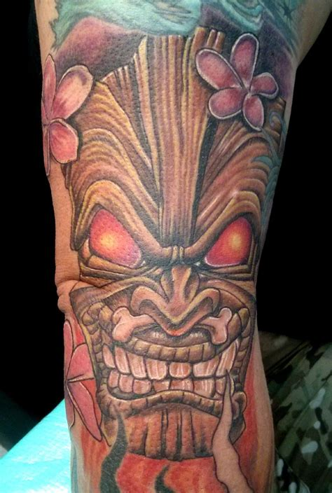 tiki man tattoo designs tiki mask with plumeria tattoos i did
