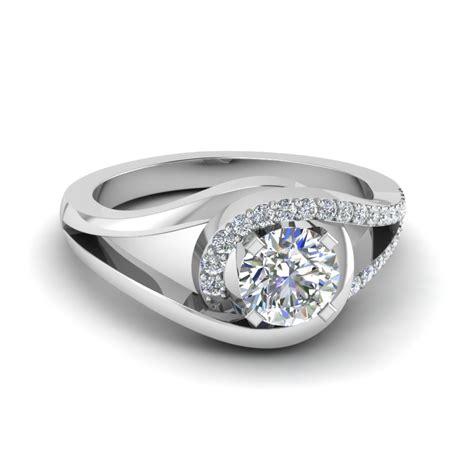 engagement rings for women round cut swirl diamond split shank engagement ring for