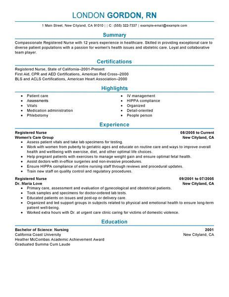 Resumes For Registered Nurses by Best Registered Resume Exle Livecareer