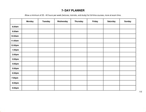5 day schedule template teknoswitch
