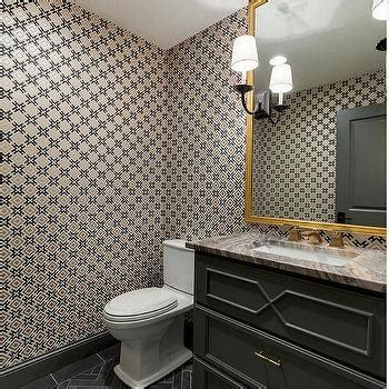 white and gray powder room with white mirrored sink vanity