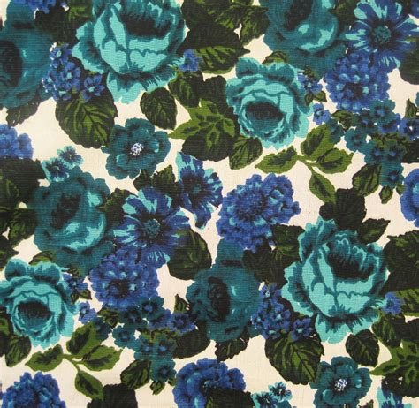 60s upholstery fabric 60s fabric vintage floral upholstery fabric cotton linen blue