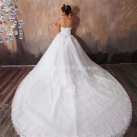 Cathedral Wedding Dress by Gown Strapless Sweetheart Cathedral Wedding