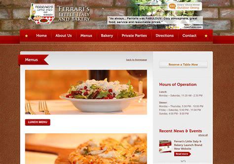 design restaurant online ferrari s italian restaurant radiant web design