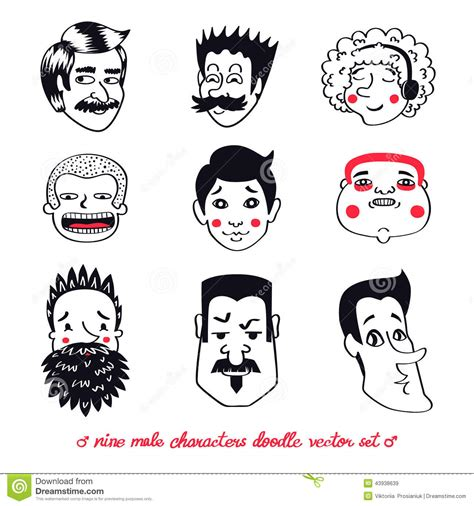 free vector doodle characters characters vector set in doodle style stock