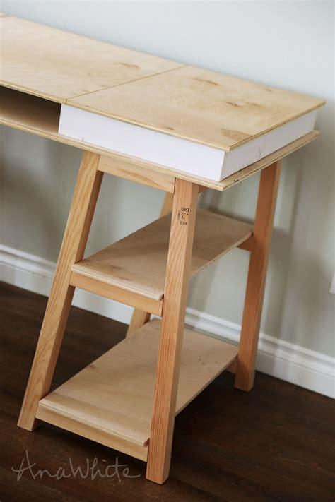 diy sawhorse desk white sawhorse storage leg desk diy projects