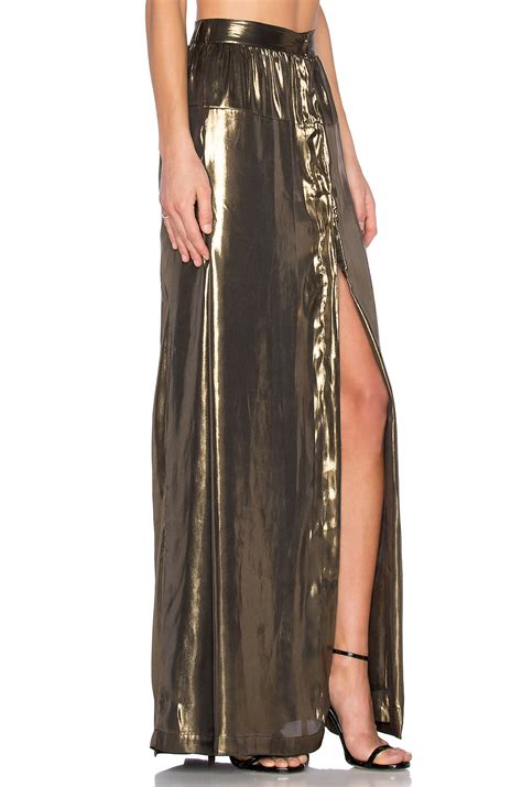egrey lame slit maxi skirt in metallic lyst