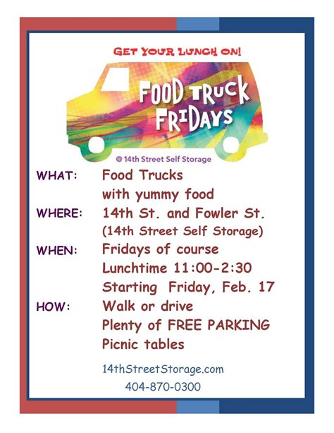 Everything Midtown Atlanta Food Truck Friday S At 14th Street Storage Food Truck Menu Template