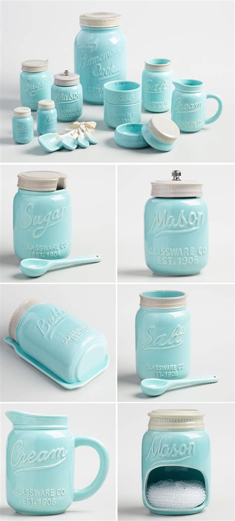Kitchen Canister Set Ceramic blue ceramic mason jar collection everything turquoise
