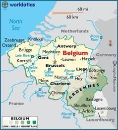 belgique map belgium large color map