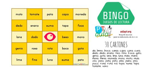 lecturas del juego de 8467507578 191 jugamos al bingo divertido juego de lectura aula pt