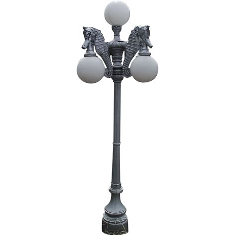 Outdoor Pole Lights Used Silver Painted Outdoor Cast Aluminum Pole Lights With 4 Silver Antique Investments Ruby