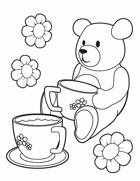tea party coloring pages birthday printable