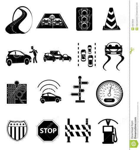 road traffic icons set stock illustration image of black