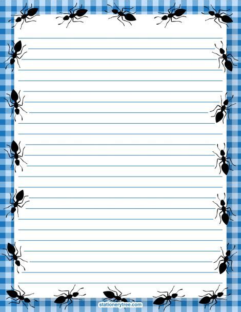 ant writing paper printable ant stationery and writing paper free pdf
