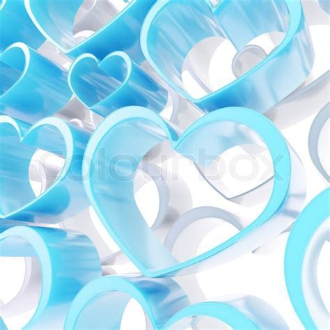 Abstract love background of white and blue heart shapes