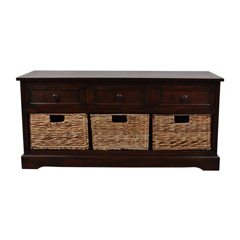 Shop Decor Therapy Montgomery Transitional Mahogany Storage Bench At Lowes Com