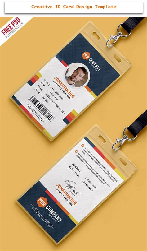 id card design templates free 30 creative id card design exles with free