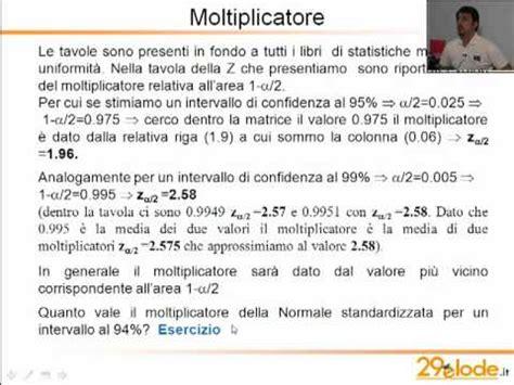 tavola z statistica statistica medica determinazione moltiplicatore e