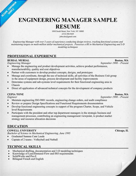 Test Engineering Manager Sle Resume by Sle Resume October 2014