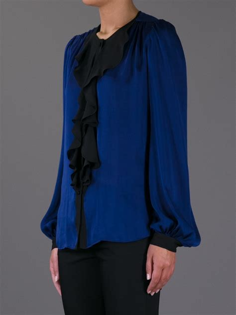 Blouse Owl Blue 1 lyst emilio pucci ruffled blouse in blue
