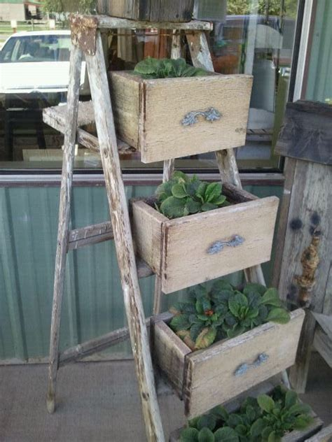 Wooden Ladder Garden Decor Pin By Hull On Repurposed Junk Pinterest