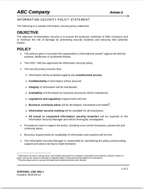 12 Security Policy Exles Sles Information Security And Privacy Policy Template