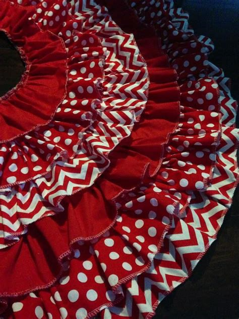 ruffle christmas tree skirt red chevron and polka dots