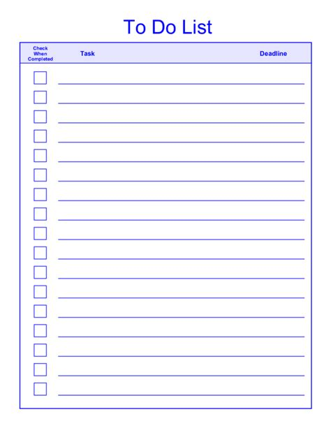 to list template free printable daily weekly to do list for template