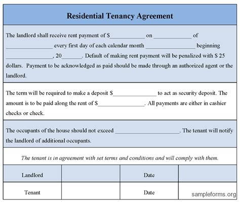 Tenant Agreement Letter Format Residential Tenancy Agreement Form Sle Residential Tenancy Agreement Form Sle Forms