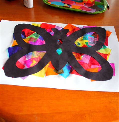 Paper Craft Classes - tissue paper butterflies playdough to plato