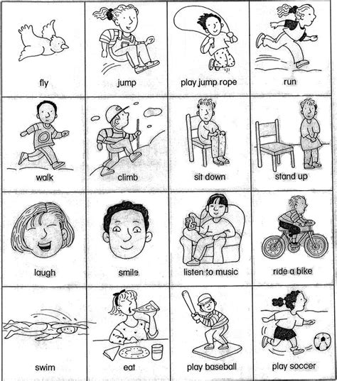 coloring page action words action words clipart black and white
